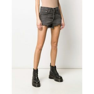 Levi's 501 High-Rise Denim Short in Eat Your Words Washed Black Sz 32 Distressed